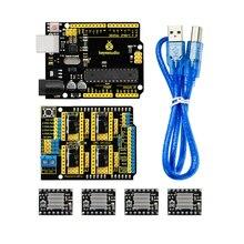 Livraison gratuite! kit de CNC Keyestudio pour arduino CNC bouclier V3 + UNO R3 + 4 pièces A4988 compatible pilote/GRBL