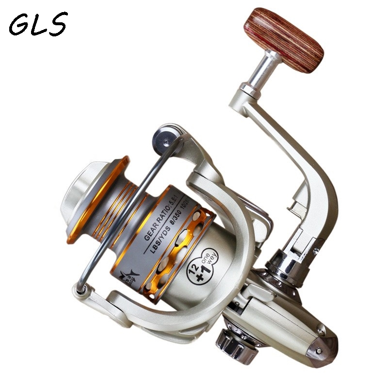 2020 New  Fishing coil Wooden handshake 12+ 1BB Spinning Fishing Reel Professional Metal Left/Right Hand  Fishing Reel Wheels 3