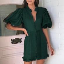 Conmoto élégant vert vintage robe de soirée femmes pour la nuit plissé court dames robe automne hiver 2019 robes vestidos
