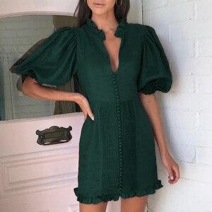 Image 1 - Conmoto élégant vert vintage robe de soirée femmes pour la nuit plissé court dames robe automne hiver 2019 robes vestidos