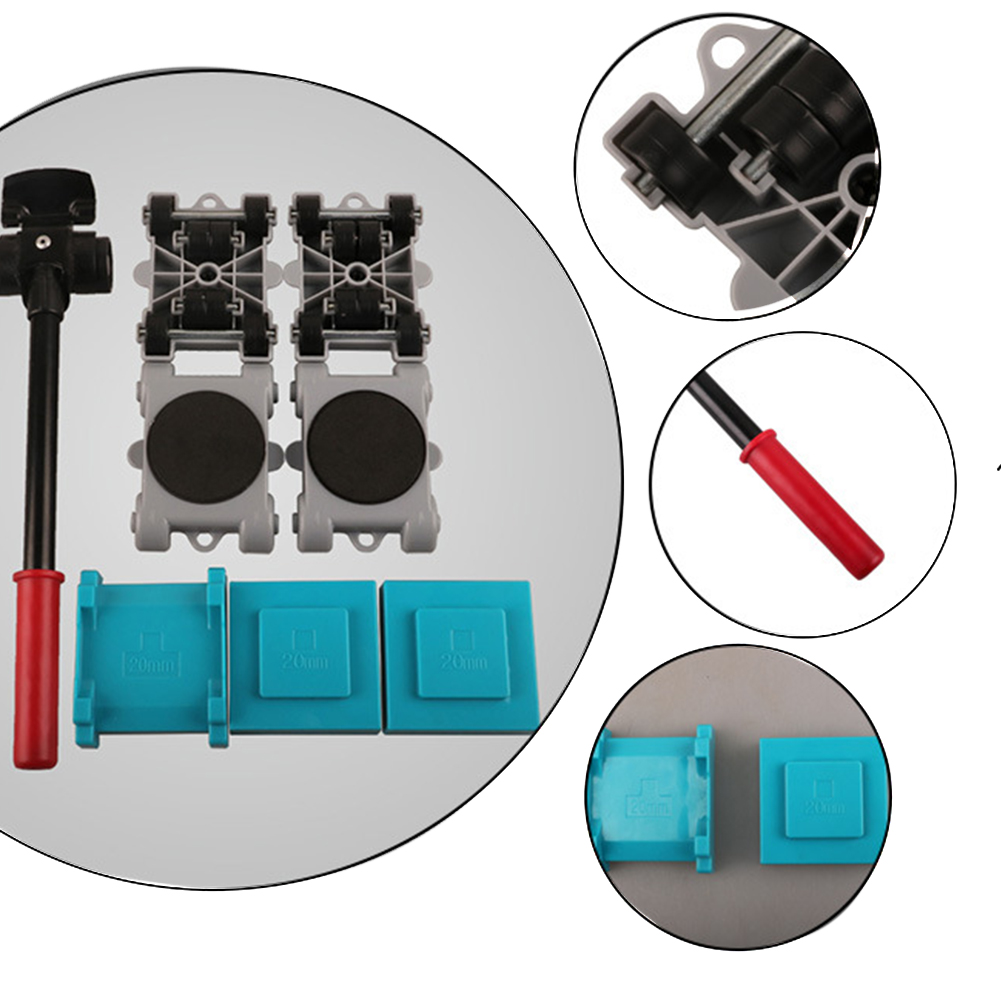 8pcs Moving Roller Set Home Removable Heavy Stuffs Easy  Use Sliders Furniture Mover Tool Lifter 360 Degree Rotatable