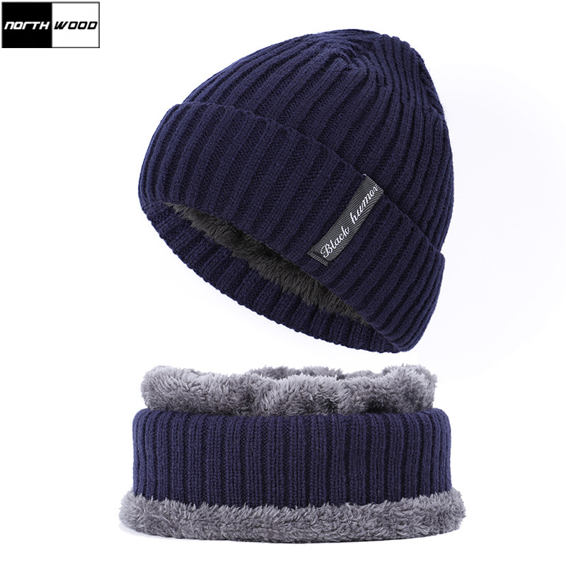 [NORTHWOOD] Brand Mens Thicken Winter Beanie Hat Neck Scarf Cap Plus Velvet Skullies Beanies Women Beanie Hats Knitted Hat Ski