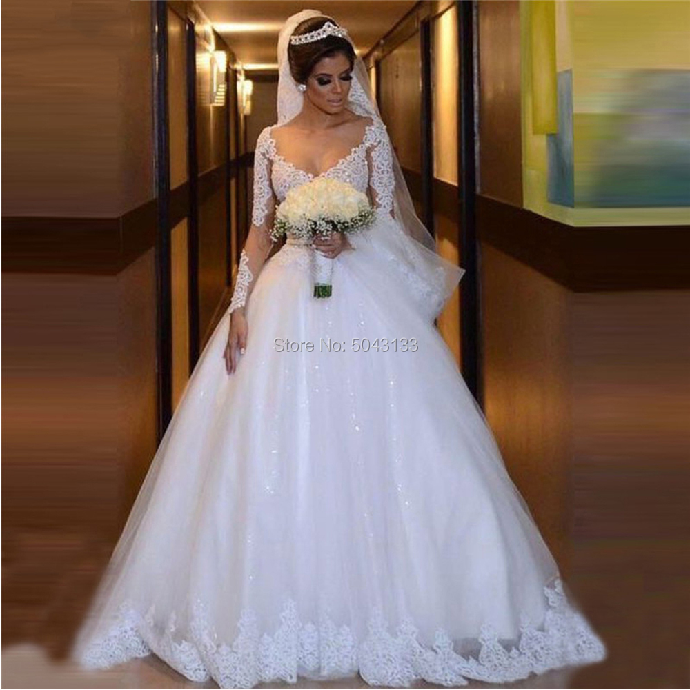 2020 Lace Appliques A Line Wedding Dresses Sexy V Neck Long Sleeves Tulle Bridal Gown Illusion Back Bride Dress With Beaded Sash