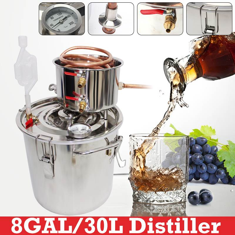 10/12/20/30L Distiller Moonshine Alcohol Stainless Copper DIY Home Water Wine Essential Oil Brewing Kit