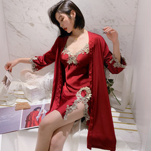 Sexy Bathrobe Sleepwear Pajamas-Set Spring-Gown Womens Home V-Neck 2PCS Suit