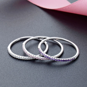 Image 5 - JRSIAL кольцо из стерлингового серебра 925 пробы с цирконием корейское модное кольцо ультратонкое простое кольцо