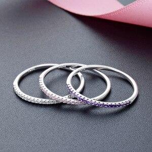 Image 5 - Jrsial 925 prata esterlina jóias zircão anel coreano moda anel ultra estreito fino simples anel