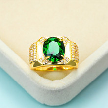Vintage Female Male Green Crystal Ring Dainty Zircon Stone Gold Wedding Rings For Women Men Luxury Oval Big Engagement Ring gorgeous faux crystal oval bracelet with ring for women
