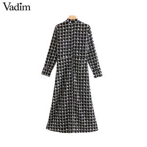 Image 2 - Vadim women elegant black print midi dress long sleeve back zipper office wear female casual mid calf dresses vestidos QC843