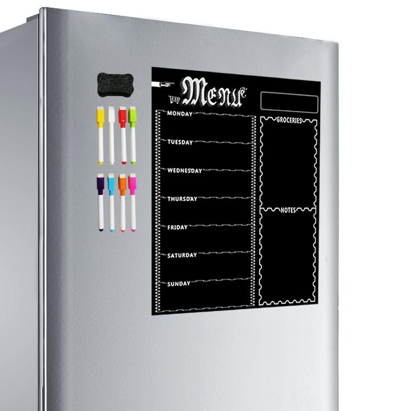 HOT-A3 Magnetic Whiteboard Sheet For Kitchen Fridge Multipurpose Fridge Weekly White Board Calendar For Menu Planning With 8 Pen