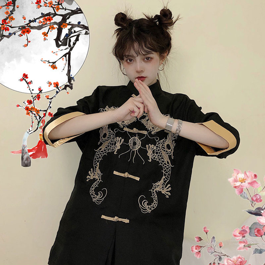 Dragon Haori 2019 News Fashion Clothes Japanese Jacket Vintage Asian Clothes Streetwear Embroidery Style Collar Top Kimono Dress