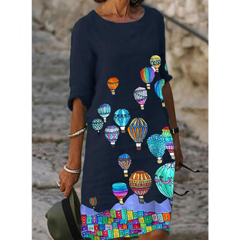 Half Sleeved V Neck Printed Loose Dress Women's Fashion Casual Vintage Spring Autumn All-match Plus Size Beach Dresses Vestidos 3