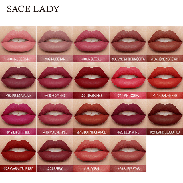 SACE LADY Long Lasting Lipstick Make Up Matte Liquid Lip Stick Non Drying Makeup Nude Red Pigment Waterproof 23 Colors Cosmetic 1