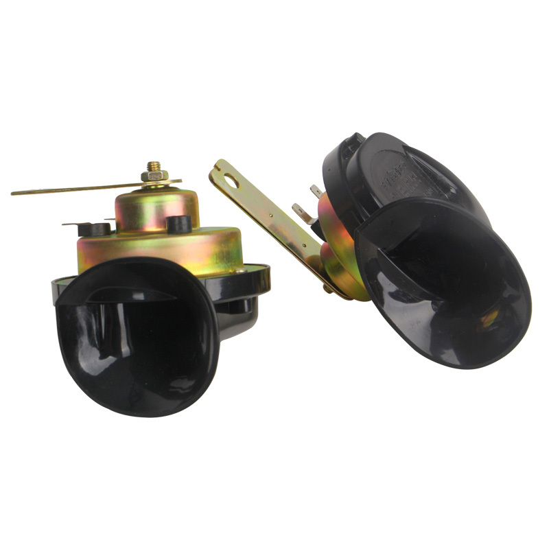 2pcs Car horn electric horn Loud 115DB 12/24V Black Electric Snail Horn Air Horn Sound for Car Motorcycle Truck Ship
