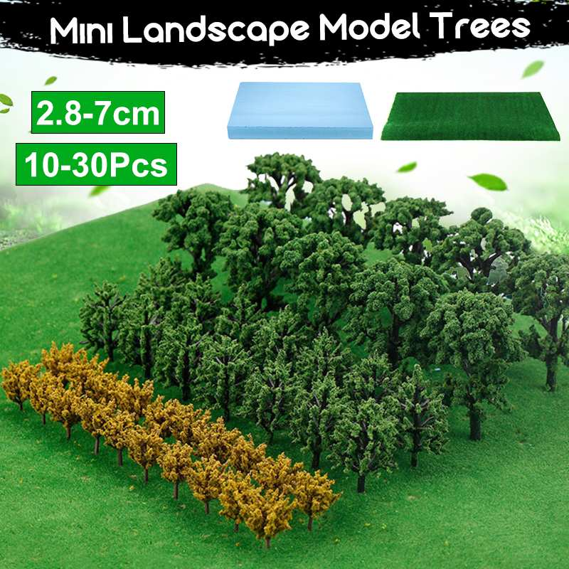 Plastic Miniature Model Trees For Building Trains Railroad Scenery Tree Scale Model With Artificial Hill Foam Board Grass Land