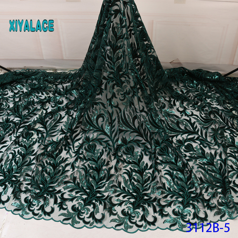 Latest African Sequins Green Lace Fabric Embroidery Nigerian Lace Fabric 2019 French Voile Lace For Bridal YA3112B-5