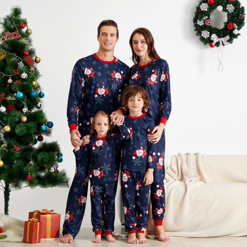 Christmas Pajamas Set Mom Dad Kid Family Suit Long Sleeve Printed Cotton Soft 2-Piece Winter Pajamas US Stock