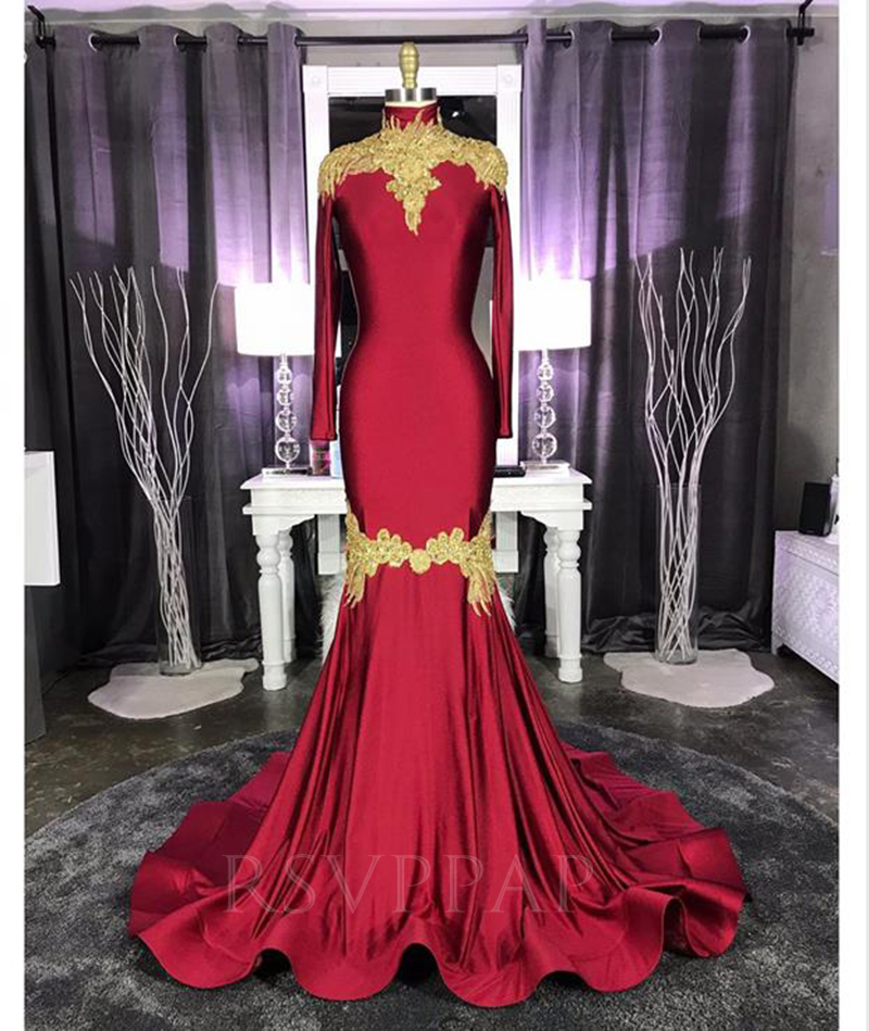Burgundy Mermaid Long Prom Dress 2020 Real Pictures Elegant Gold Appliques High Neck Long Sleeve African Black Girl Prom Dresses