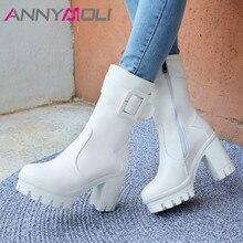 ANNYMOLI Winter Mid Calf Boots Women Buckle Platform Square Heel Boots Zipper Extreme High Heel Shoes Lady Autumn Big Size 34-43