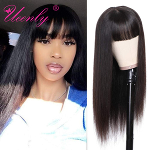 Human Hair Wigs With Bangs Brazilian Straight Full Machine Made Wig No Lace Front Human Hair Wigs Remy Hair Natural Color