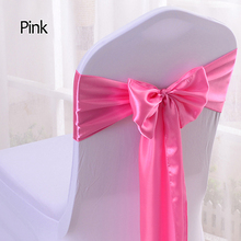 Satin Burgundy Bow Chair Band Wedding Banquet Chair Sashes For Hotel Party Decoration Multi Color 16*275cm 25pcs/lot