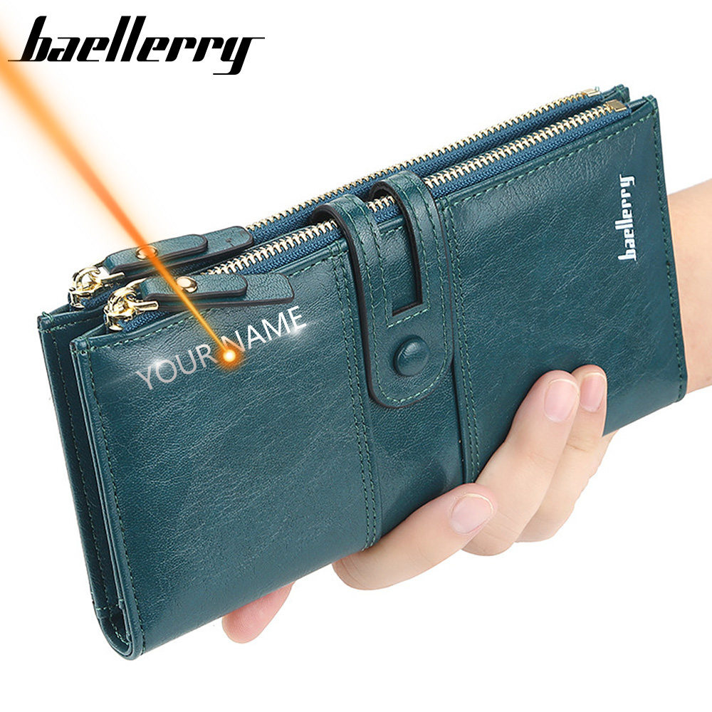 Female Purse Card-Holder Engrave Women Wallets Classic Zipper Fashion Name Long for Top-Quality