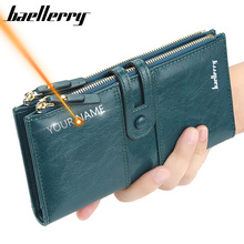 Female Purse Card-Holder Engrave Women Wallets Classic Zipper Name Fashion Long for Top-Quality