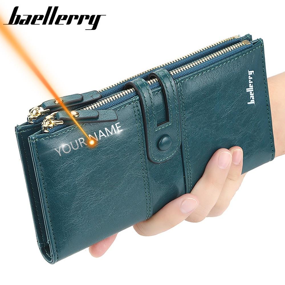 2020 nazwa wygrawerować kobiety portfele moda długa skórzana najwyższej jakości posiadacz karty klasyczna torebka damska Zipper marka portfel dla kobiet