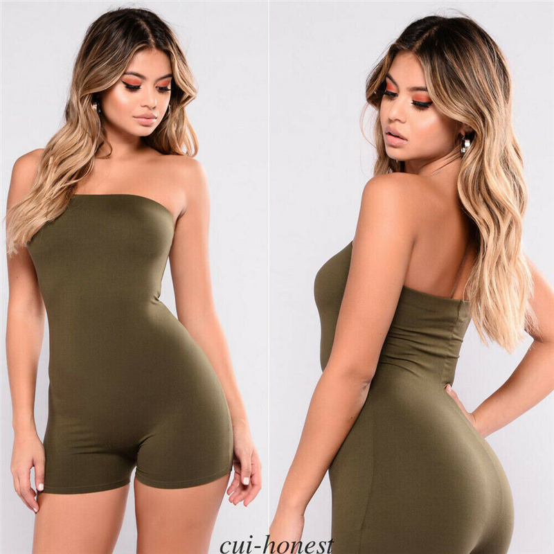 Short Rompers Women Leotard Sleeveless Slim Top Women Stretch Bodycon Playsuit Bodysuit Overalls Summer Rompers