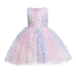 Image 5 - Kız elbise vaftiz elbise bebek pembe petal zarif çiçek kız düğün elbise tutu prenses bebek kız elbise