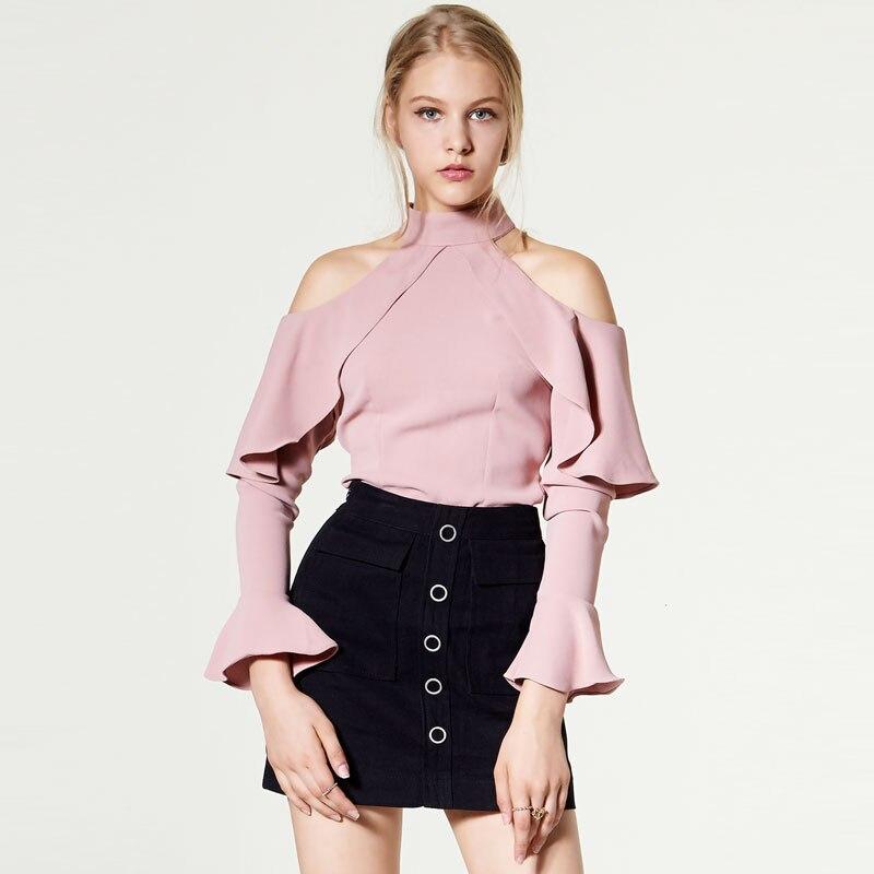 Junelove primavera verão nova babados halter pescoço vintage sexy fora do ombro alargamento manga chiffon camisa feminina blusa topos