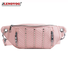 Fanny Pack Rivet Leather Waist Bag for Women Bum Crossbody Waist Pack Girls Fashion Belt Chest Bags Ladies Banana Shoulder Purse sansarya belt bag boho bohemian vintage fanny pack for women cute festival hippie ladies waist bag tribal aztec girls bum bag