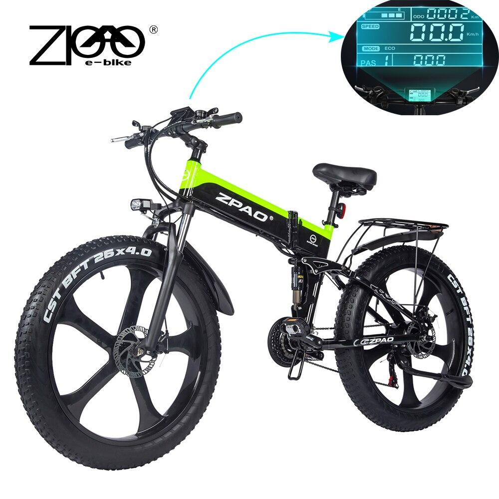 ZPAO Fat Bike e Bike 1000W Folded Electric Bicycle Electronic Bikes Bicicleta Electrica Adulto Mountain Electrical Bicycles|Electric Bicycle|   - AliExpress