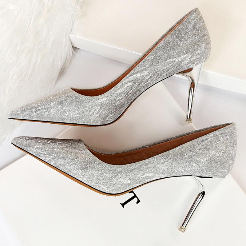 2020 Luxury Women Bling Gold Silver 5cm 7cm 9cm High Heels Pumps Lady Scarpins Glitter Party Low Heels Bridal Wedding Prom Shoes