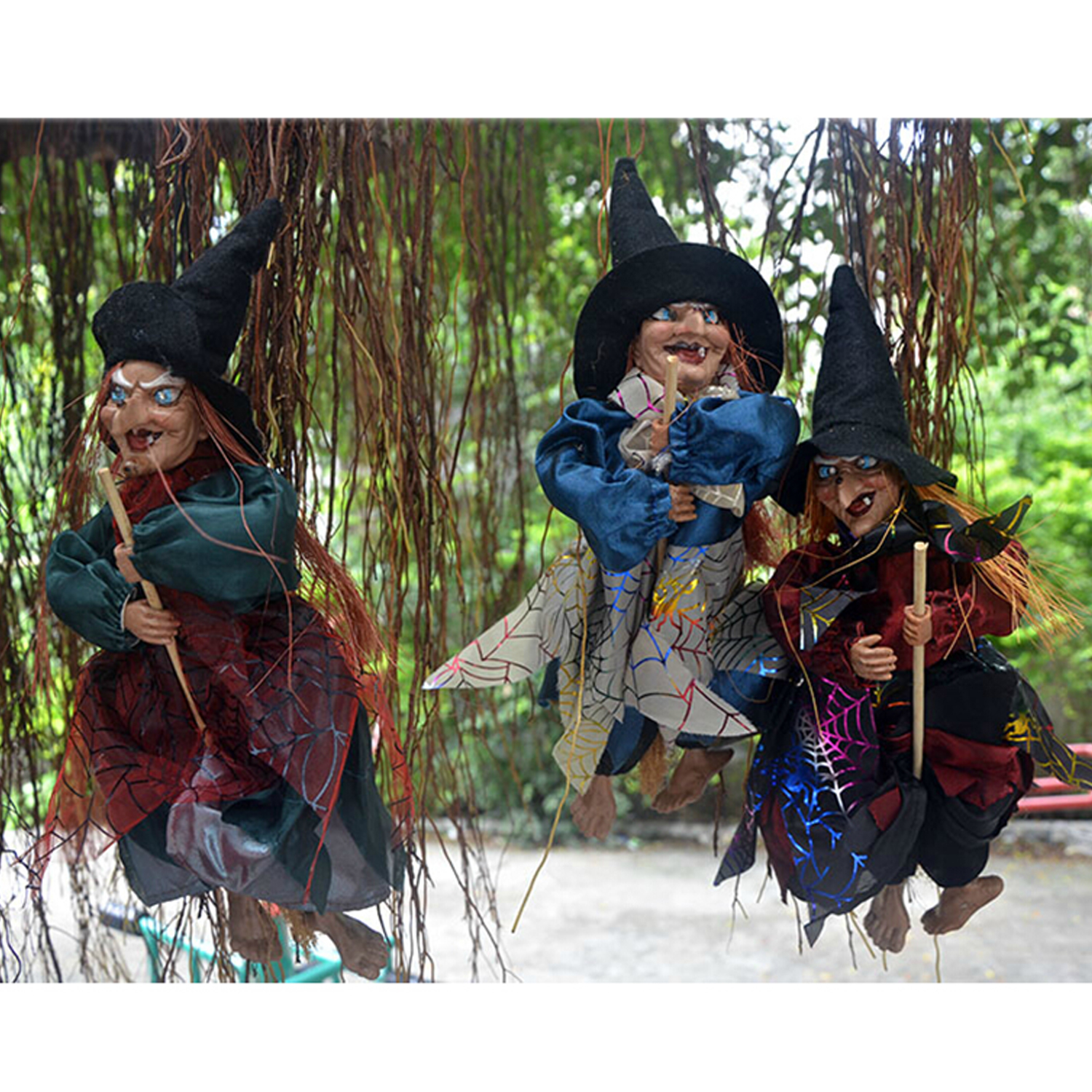 New Besegad Halloween Decoration Props Prank Toy Hanging Ghost Witch Laughing Sound Control Gags Hanging Witch Practical Toys