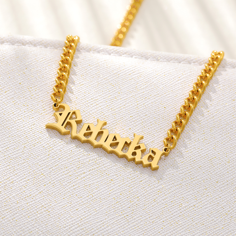 V Attract Customized Old English Font Name Necklace Women Stainless Whip chain Letter Pendant Choker Necklace Jewelry gift