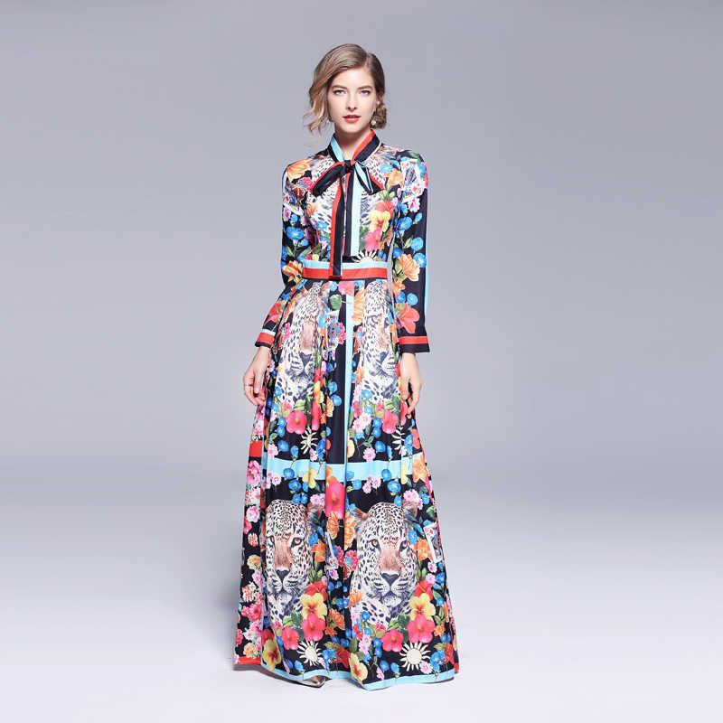 Дизайнерское Макси-платье длиной до пола с изображением Льва для подиума 2019, Осенний женский галстук-бабочка, цветное плиссированное платье с цветочным принтом
