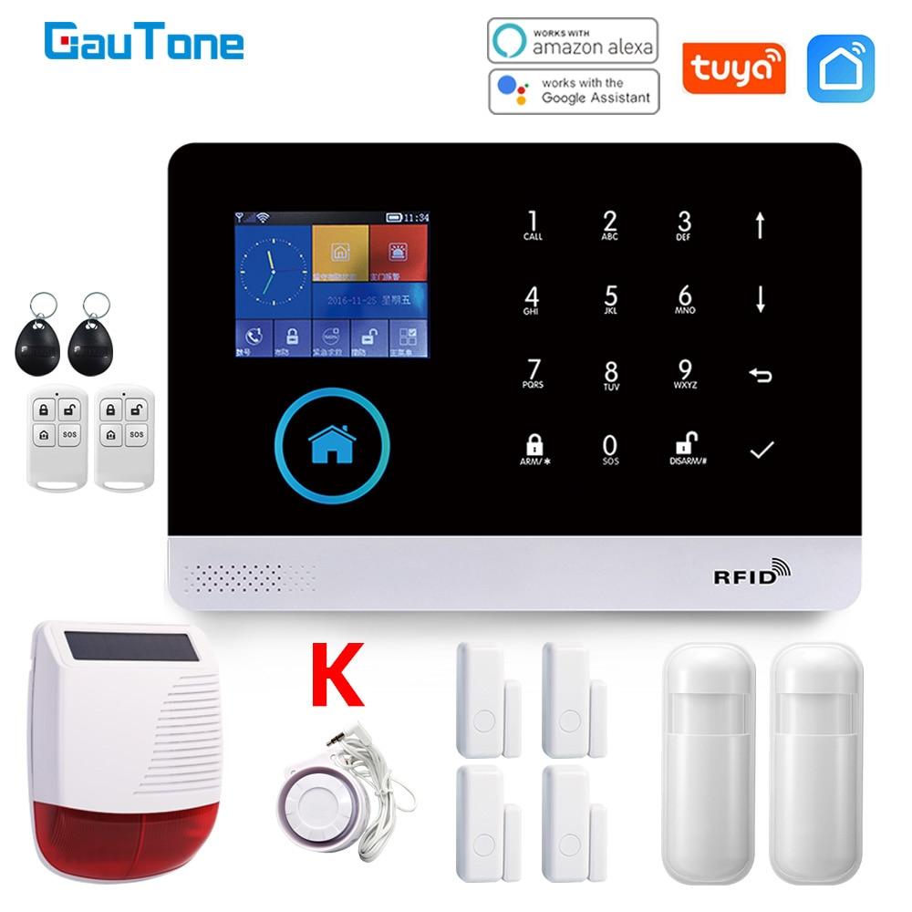 Система сигнализации GauTone для умного дома, Wi-Fi GSM, с датчиком движения, беспроводная сирена, ночное видение, IP-камера с поддержкой Alexa
