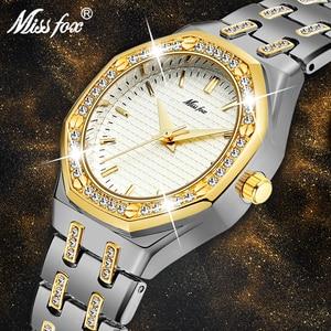 Image 1 - MISSFOX Fashion Watches Womens Expensive 18K Gold Ladies Wrist Watch Women Quartz Classic Analog Diamond Jewelry Hand Watch