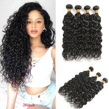 Волнистые человеческие волосы, пряди SOKU 8 26 дюймов, бразильские волосы, волнистые пряди, не Реми, человеческие волосы для наращивания 3/4 шт, пряди волос
