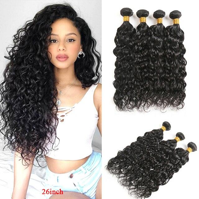 Water Wave wiązki ludzkich włosów SOKU 8 26 calowe włosy brazylijskie splot wiązki nierealne doczepy z ludzkich włosów 3/4 sztuk wiązki włosów