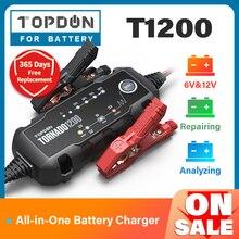 Topdon T1200 Ô Tô Pin Sạc 6V 12V Tự Động Dẫn Axit Pin Lithium Sạc IP65 Xe Ô Tô Xe Máy Sạc Pin