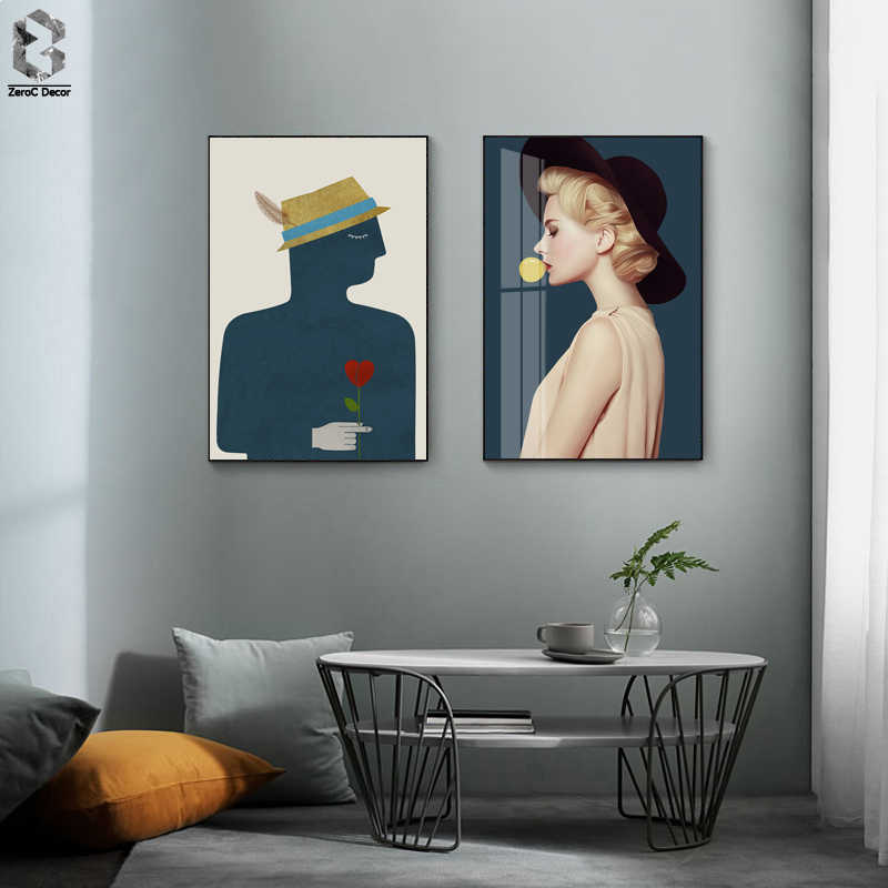 Will It Maked? Modern Lady and Ordinary Boy Canvas Painting Wall Art Posters Figure Print Wall Picture for Living Room Bedroom