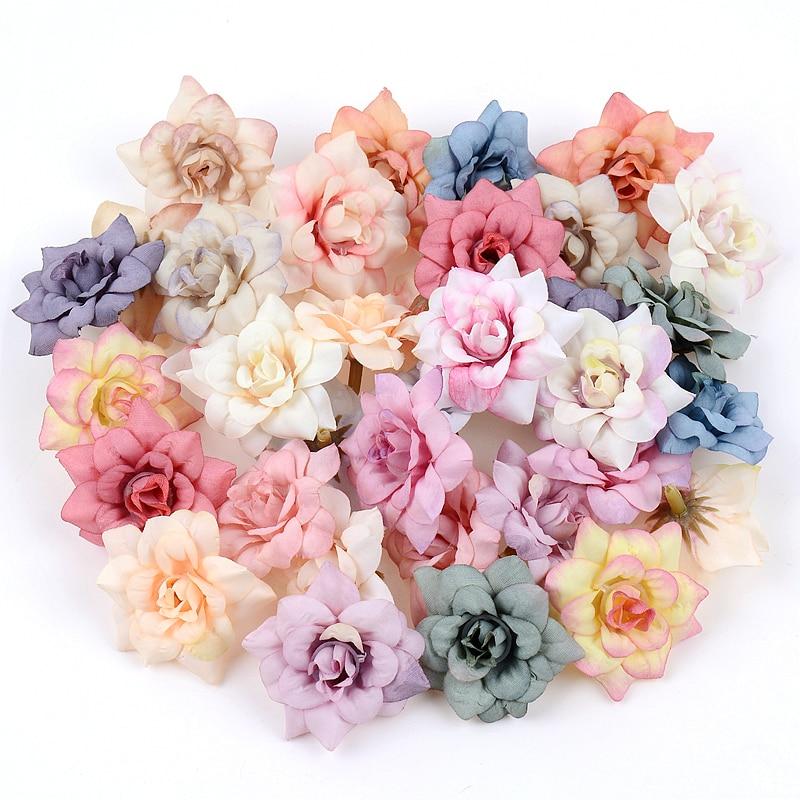 10Pcs Artificial Flower 4.5cm Silk Rose Head For Wedding Home New Year Decoration DIY Garland Scrapbook Gift Box Craft Flower