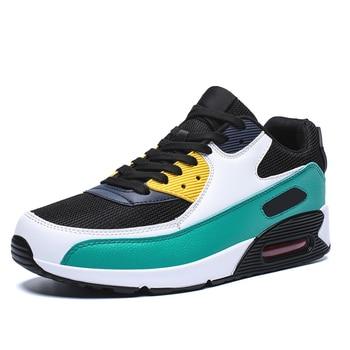 All Season Unisex Fashion Sneakers Men Hip Hop Shoes Spring Men's Air Cushion Mesh Sport Shoes Casual Shoes Men Male Footwear - Black Green, 7