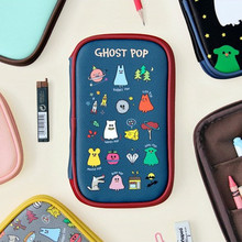 1 PC Dancing Ghost Simple More Function Pencil Case Stationery Storage Bag Female Student Cute Cartoon Printing Pencil Bag