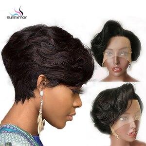 Image 2 - פיקסי לחתוך פאת תחרה מול פאות גלי קצר בוב רמי שיער 150% Glueless מתולתל שיער טבעי פאה מראש קטף קו שיער מולבן קשר