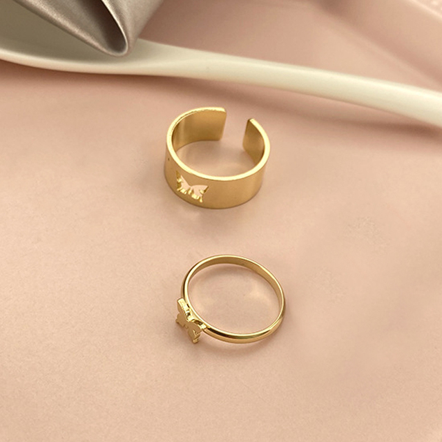 Punk Simple Style Lovers Butterfly Opening Ring Creative Women Gold Silver Color 2-Piece Ring Jewelry Gifts For Good Friends 2