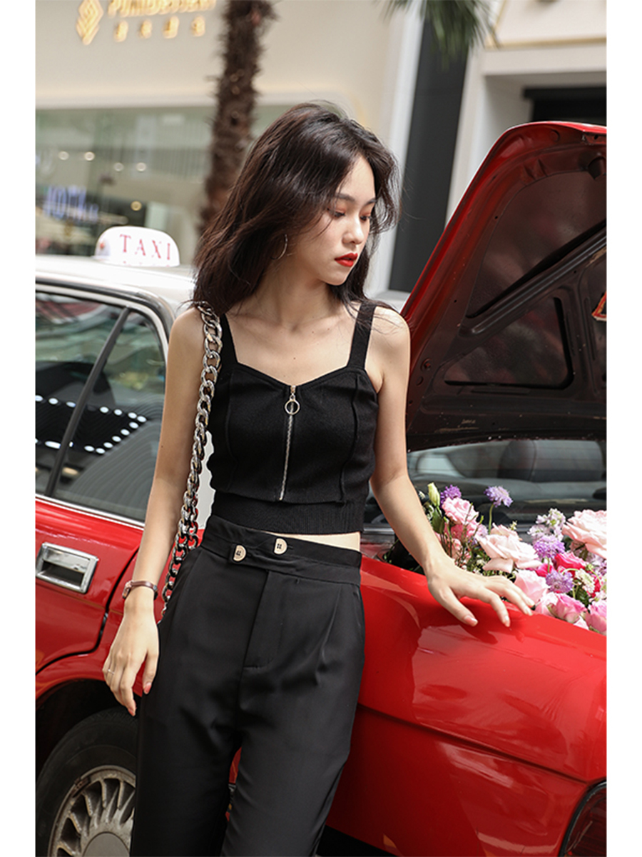 H2187bc75d54b4f3f9bf6abe609bca1caj - HELIAR Tops Women Crop Top Club Sexy Zipper Knitting Camisole With Hole Female Tank Tops Ladies Sleeveless Solid Strap Top Women