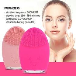 Mini elétrica rosto escova de limpeza recarregável silicone facial limpeza profunda poros limpeza à prova de água vibratório massager